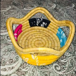 Other - Hand-woven Multi-color Quad Handled Basket
